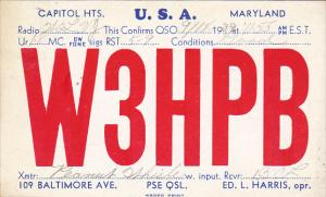 W 3 H P B Capitol Heights Maryland Ed L Harris 1940