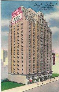 Vintage postcard, Hotel Holland, New York City, New York, Linen