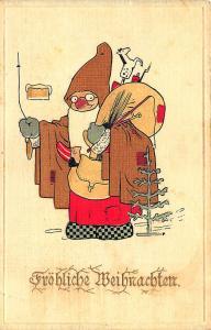 Brown Suited Santa Claus Christmas Tree Green Gloves German Postcard
