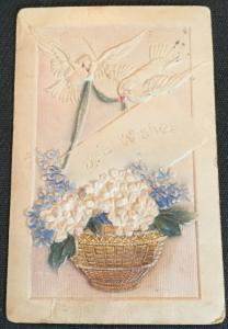 "Postcard Used ""Best Wishes"" Birthday embossed Birds/Flowers LB"