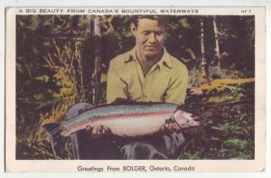 P846 1949 fishing big beauty greeting from bolger ontario canada bountiful water