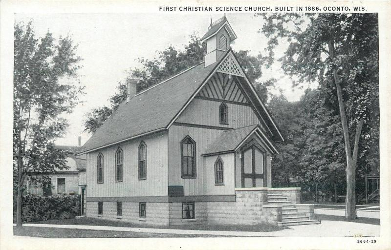Oconto Wisconsin~First Christian Science Church~Built in 1886~1920s Postcard