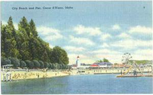 City Beach and Pier, Ferris Wheel in Coeur d'Alene Idaho ID Linen