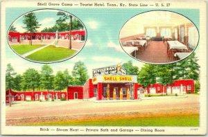 Somerset, Kentucky Postcard SHELL GROVE CAMP / Shell Gas Station Hwy 27 Linen