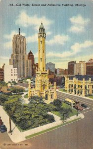 Old Water Tower & Palmolive Building CHICAGO Illinois 1946 Vintage Postcard