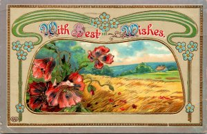 WITH BEST WISHES - FARM SCENE - VINTAGE - POSTCARD