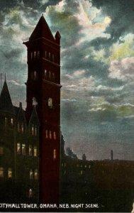 Nebraska Omaha City Hall Tower At Night Curteich