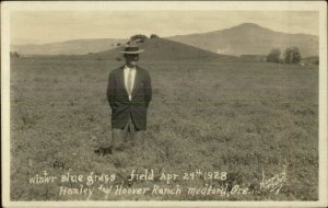 Hanley & Hoover Ranch Medford OR Winter Blue Grass Real Photo Postcard xst