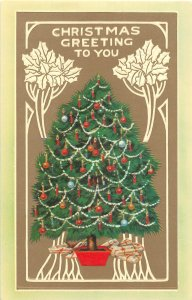 F89/ Merry Christmas Postcard c1980 HTL Hold-To-Light Tree Ornaments 15