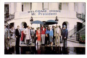 President and Mrs. Reagan and Staff at White House, Coming Home After Recuper...