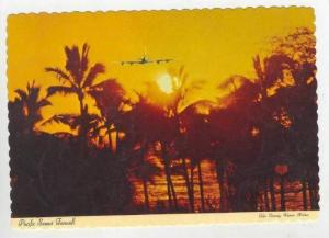 Pacific Sunset Farewell, Jet in sky, Agana, Guam, 60-70s
