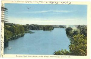 Otonabee River from Hunter St Bridge Peterborough Ontario ON