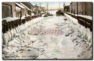 Old Postcard Portland Me Dock in Winter