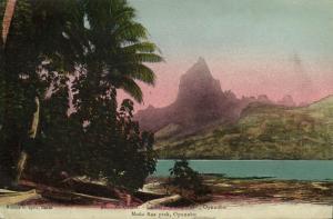 french polynesia, MOOREA TAHITI, Opunohu Bay, Moua Roa Peak (1910s)