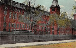 Lewiston Maine~Continental Mill~Trees & Fence along Street~c1910 Postcard