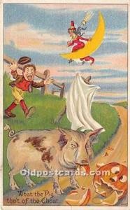 Halloween Postcard Old Vintage Post Card Witch on Moon, Pig Eating Pumpkin 1910