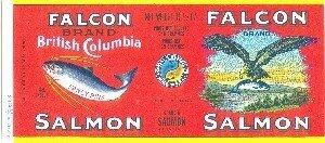 FALCON brand SALMON - 1930s / CAN LABEL  British Columbia CANADA - Flying eagle