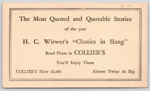 Springfield OH~Witwer Classics in Slang Collier's~1925~Jenness Chrisman IL