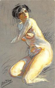 Prostitute Nude Woman Lesciave Signed Yves Diey Postcard