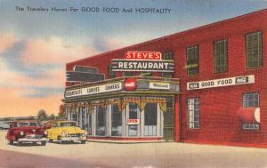 Selma North Carolina Steves Restaurant Street View Antique Postcard K91048