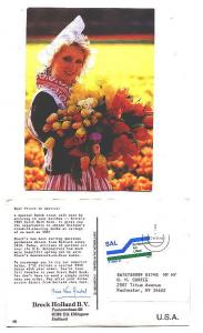 Beautiful Dutch Woman with Huge Tulip Bouquet, Advertising Breck Bulb Book, H...