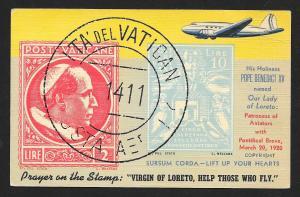 VATICAN Stamps on Postcard Airplane Unused c1942