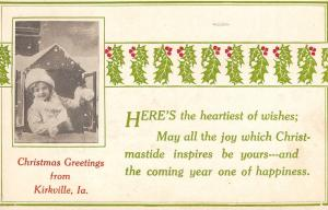 Christmas at Kirkville Iowa~Little Girl Opens Shutters to Snow~Holly Berry~1912