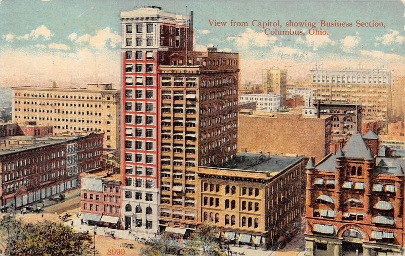 Columbus Ohio~Downtown Skyscapers~View From Capitol~1913 Postcard