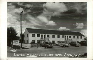 Lusk WY Smith's Tourist Apts Old Cars Real Photo Postcard