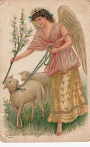 EASTER Greeting, Angel with sheep, Pink flowers, gold detail, 00-10s