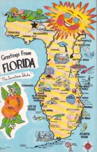 Greetings From Florida With Map
