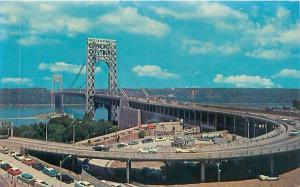 FORT LEE NEW JERSEY GEORGE WASHINGTON BRIDGE SPANS THE HUDSON POSTCARD c1960s