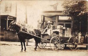 E61/ Kimbolton Ohio RPPC Postcard 1911 Guernsey Co Delivery Wagon Store