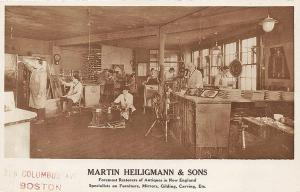 Boston MA Martin & Heilgmann & Sons Antique Restorers Interior RPPC Postcard
