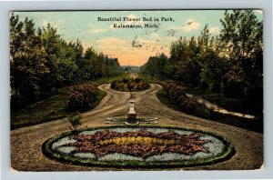 Kalamazoo MI-Michigan, Beautiful Flower Bed in Park, Vintage c1911 Postcard