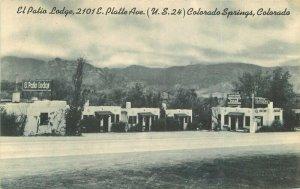 Colorpicture Colorado Springs Colorado El Patio Lodge roadside Postcard 20-14129