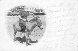 Atlantic City, NJ Her First Ride Woman On Donkey 1905 Vintage Postcard