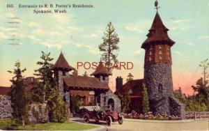 1914 ENTRANCE TO R. B. PORTER'S RESIDENCE, SPOKANE, WA. vintage auto