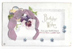 Birthday Wishes Ribbon Add-On Pansy Vintage Embossed Stecher