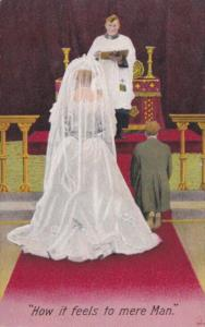 Bamforth Humour Couple At Altar How It Feels To Mere Man 1910