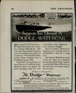 1927 Dodge Watercar Boat Vintage Print Ad 3930