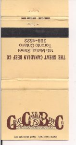 Matchbook Cover ! The Great Canadian Beef Co., Toronto, Ontario !
