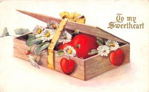 Valentines Day Post Card Old Vintage Antique Postcard writing on back