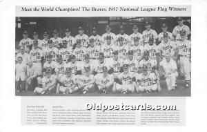 Old Vintage Baseball Postcard Post Card Braves, World Champions 1957 National...