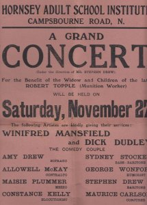 Winifred Mansfield Comedy Ventriloquist WW1 1900s Hornsey Theatre Programme S...