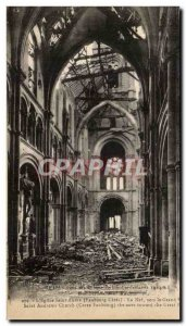 Old Postcard Reims In L & # 39Eglise Saint Andre La Nave To The Grand Army po...