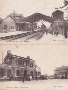Rang Du Fliers Gare Train Railway 2x Antique French Postcard s