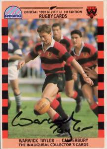 Warwick Taylor Canterbury Team Rugby 1991 Hand Signed Card Photo