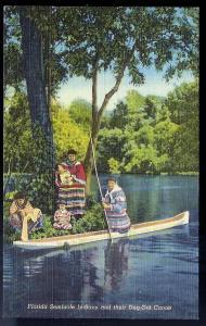 Seminole Indians & Dugout Canoe Miami FL unused c1930's