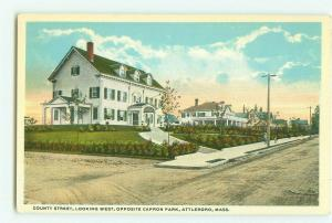 County Street Looking West Opposite Capron Park, Attleboro MA Vintage Postcard